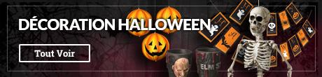 Décoration Halloween: citrouilles, guirlandes, toiles d'araignée et décoration effrayante