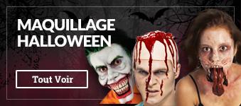 Maquillage Halloween: latex liquide, faux sang, prothèses, fausses blessures...maquillage zombie, de clown assassin, joker, ...