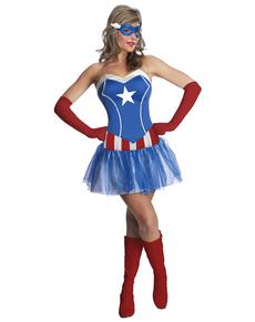 Costume de Captain America Marvel classic pour femme