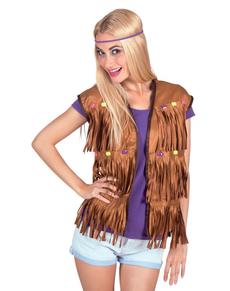 Gilet hippie franges femme