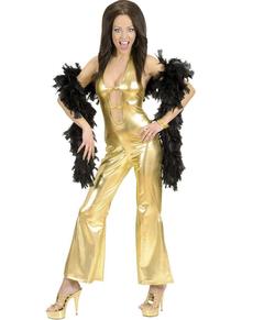 Déguisement beauté disco doré femme